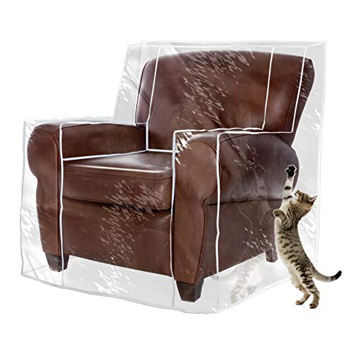 """Touri Vinyl Heavy Duty Clear Transparent Waterproof Chair/Recliner Cover Slipcover for Pets Cat Scratching and Daily Protection, 35"""" W x 39"""" D x 42"""" H, 1 Pack"""