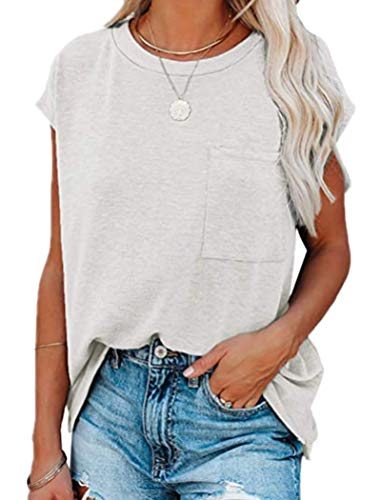 Actloe Womens Summer Casual Short Sleeve Crewneck Tee Shirts Loose Batwing Sleeve Shirt Top with Pocket XX-Large A White