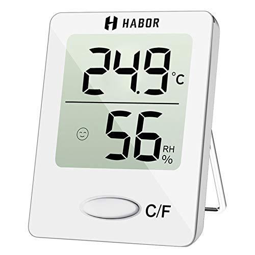 Habor Mini-Thermometer, Hygrometer, digital, hohe Präzision, Feuchtigkeits- und Temperaturmonitor, tragbar, Thermo-Hygrometer, Anzeige des Komfortniveaus, für Haus, Büro, Küche
