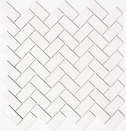 Mosaik Fliese Keramik Fischgrät weiß glänzend Küchenfliese Wandfliese MOS24-CHB5WG