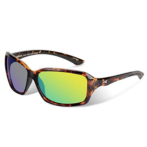 KastKing Alanta Sport Sunglasses for Women,Gloss Demi Frame, Brown Base Chartreuse Mirror