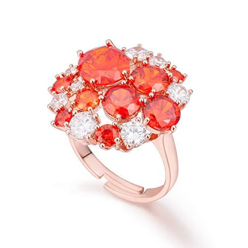 Anillo para mujer, de cobre hipoalergénico, cristal austriaco con brillantes brillantes, para cumpleaños, diseño vintage de oro rosa y rojo