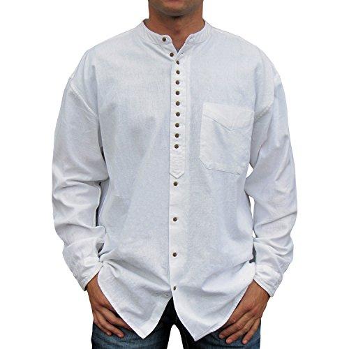 NADUR Stehkragenhemd - Irisches Stehkragenhemd - EW 13 White (XXL, White)