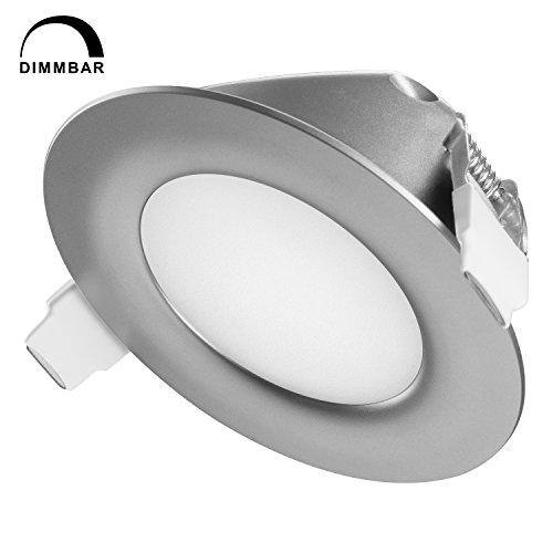 TEVEA® Ultra Flach LED Einbaustrahler IP44 dimmbar für den Wohnbereich |auch für das Bad geeignet| Warmweiß 6W 230V Rahmen weiss Rund Einbauspots Badleuchten (Silber-Warmweiss)