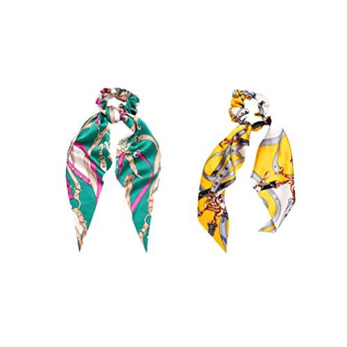 Minkissy 2 stuks haarelastiekjes elastische paardenstaarthouder geknoopt hoofdband bedrukt haarelastiekjes sjaal haar touw hoofdtooi dames vrouwen haaraccessoires 43,5 x 15 x 2 cm geel, donkergroen.