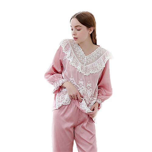 YoLiy Womens Nightwear Comfortable Fancy Soft Pajamas Set Women's Elegant Lace Ruffle 2 Pcs Loungewear Nightwear Nightie For Winter (Color : Pink)