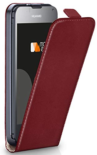 MoEx® Flip Case mit Magnetverschluss [R&um-Schutz] passend für Huawei Ascend Y300 | 360° Handycover aus feinem Premium Kunst-Leder, Wein-Rot
