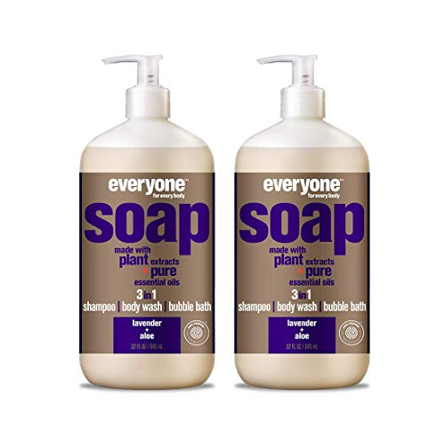 EveryOne Soap Lavender and Aloe Liquid Soap (Pack of 2) With Lavender Oil, Aloe Leaf, Chamomile Flower, Calendula Flower, Potassium Sorbate, Camelia Sinensis Leaf and Tocopherol, 32 fl. oz. each