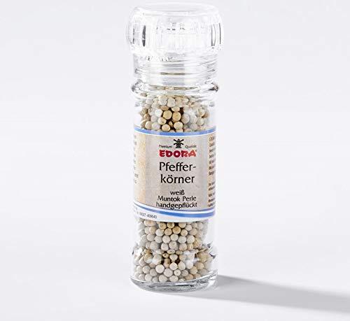 Premium Qualität Gewürz Mühle wiederbefüllbar Pfefferkörner weiß handgepflügt Pfeffer Muntok Perle Gewürzmühle mit Keramikmahlwerk 45 Gramm