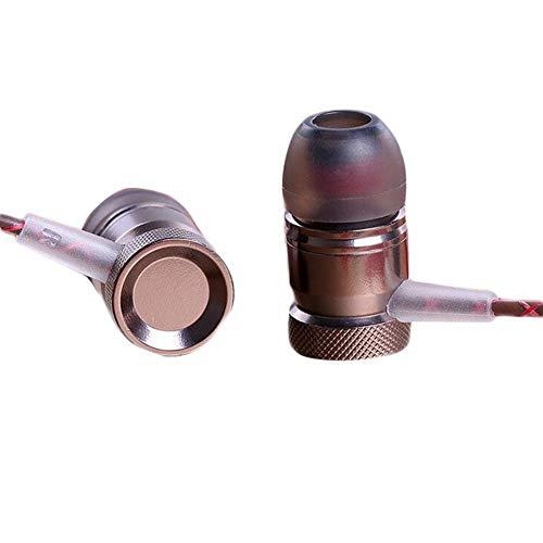 Rainnao Serpentine Metalen oordopjes in het oor Heavy Bass universele draadbediening met hoge kwaliteit koperen ring luidspreker oordopjes Kaffee