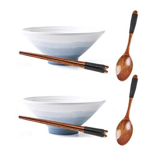 JSMY 2 Juegos de tazones de Sopa de Cereal de cerámica Japonesa de 32 onzas,tazones de Ramen Retro de Regalo Creativo con Palillos y cucharas,para Ensalada de Frutas,Verduras,Fideos