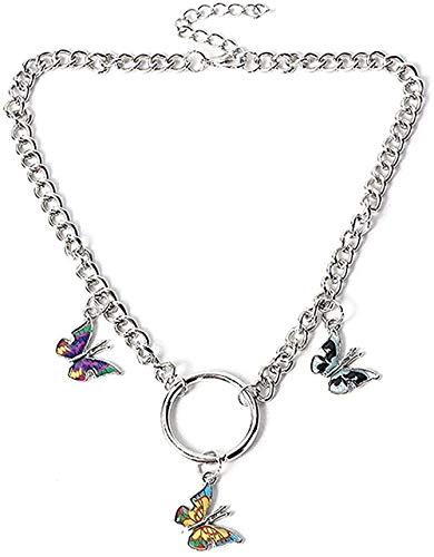 NC110 Collar de Cadena de eslabones de Cadena de Mariposa para Mujer, Colgante de Insectos acrílico, Gargantilla, Collar, joyería, gargantillas, Colgante, Collar, Regalo para niños YUAHJIGE