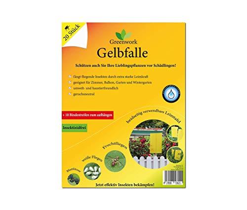 Greenwork Gelbfalle - Gelbsticker - Gelbtafeln | 20 Stück je 20x15 cm | Mittel gegen Trauermücken, Fruchtfliegen, weiße Fliegen, Blattläuse, Minierfliegen | Fliegenfalle mit extra starker Leimkraft