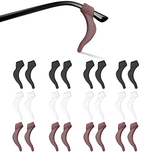 SMARTTOP Silicone Anti-slip Holder, Ear Hook, Eyeglass Temple Tips Sleeve Retainer for Glasses, Sunglasses, 12 pairs (Black+White+Brown)