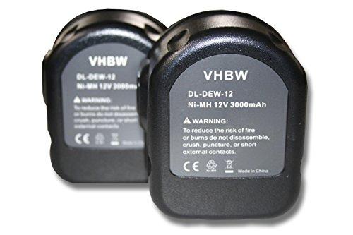 vhbw 2x Ni-MH Akku 3000mAh (12V) für Werkzeuge DE9075, Dewalt DW9071, Rems Pressmaschinen wie Dewalt 152250-27, 397745-01, DC9071, DE9037.