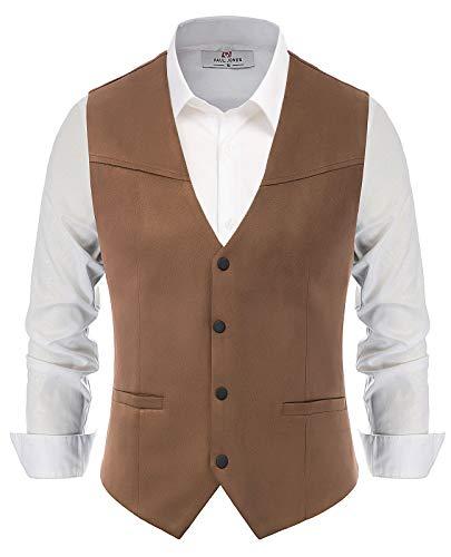 PJ PAUL JONES Mens Suede Leather Vest Western Cowboy Slim Fit Vest Jacket Waistcoat Coffee M