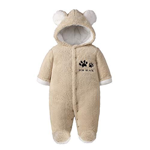 Bebé Mameluco con Capucha Traje de Nieve Niñas Niños Recien Nacido Manga Larga Invierno Monos Pijama Peleles Ropa 0-3 Meses,Caqui