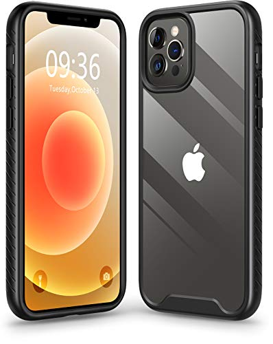 Matone Compatible with iPhone 12 Case, Compatible with iPhone 12 Pro Case, Clear Slim Protective Hybrid Cover Hard PC Back with TPU Bumper - Black