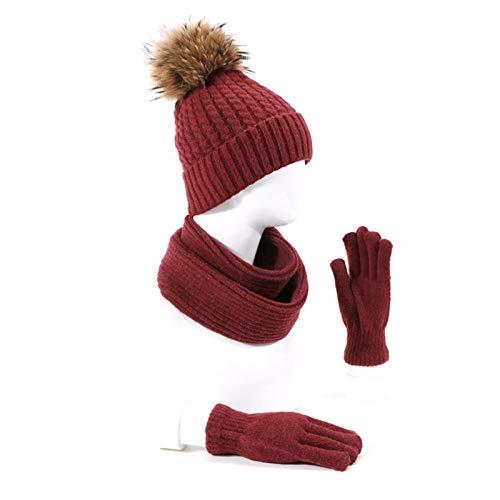Schal Damen Pompon Hut Schal Handschuhe Set Winter Unisex Outdoor Warme Schädel Mützen Mit Futter Männer Frauen Ring Schal Vollfinger Handschuhe Set-F