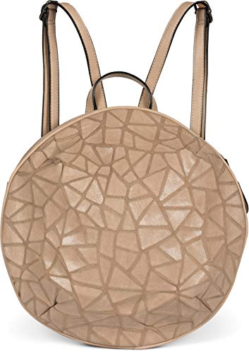 styleBREAKER Borsa a zaino da donna rotonda con superficie in look prismatico con cerniera, borsa 02012325, colore:Marrone chiaro