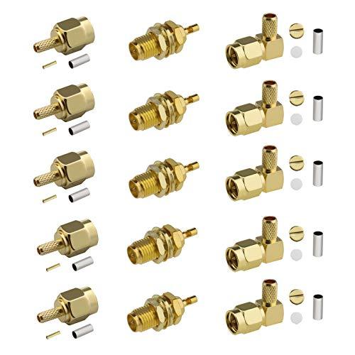 Kit de conector coaxial RF recto de 15 piezas, RP SMA hembra SMA macho hembra Jack Crimp para RG58 RG400 RG142 1.37mm Cable
