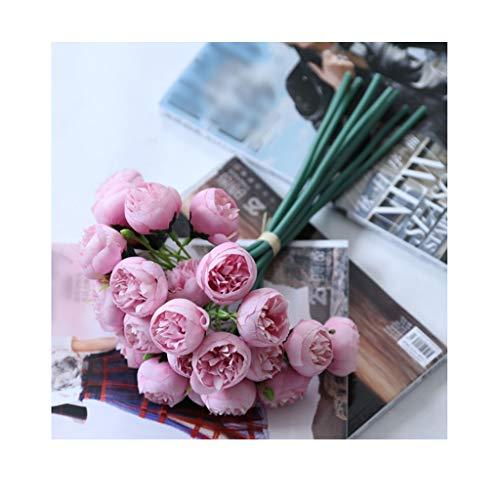 Seda Artificial 27 Cabezas Té Rose Bouquet de Flores Inicio Hotel Decoración de Mesa Flor Falsa Boda Novia Celebración Floral Bouquet (Color : Deep Pink)