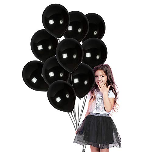 Matte Black Balloons 100 Pack - Black Latex Balloons Thick Premium Shiny Latex 12 Inches Opaque Pitch Black Appearance for Gender Reveal Birthday Halloween Decorations Graduation Party Supplies