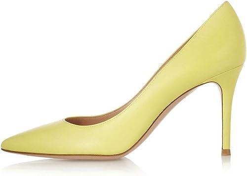 From HandMade Escarpins à la Mode pour pour Les Femmes Ont souligné Stiletto Slip on Sandals Cuir Véritable Jaune (Couleur   Jaune, Taille   39 EU)  marchandise de haute qualité et service pratique et honnête