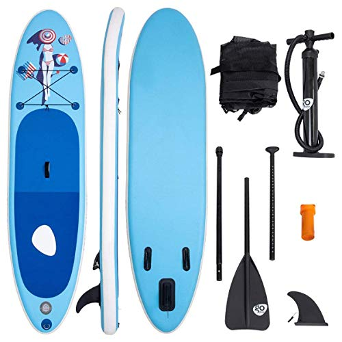 COSTWAY Tabla Hinchable Paddle Surf Sup 335 x 76 x15cm Board Stand Up Set con Remo de Ajustable Bomba Bolsa de Transporte