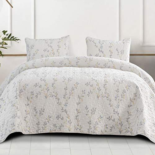 Exclusivo Mezcla Microfiber Queen Size Quilt Set, 3 Piece Lightweight Bedspread/Coverlet/Bedding Set with 2 Pillow Shams, Gradient Floral Pattern, (96'x92',White)