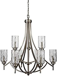 allen + roth Latchbury 32.24-in 9-Light Brushed Nickel Craftsman Textured Glass Tiered Chandelier