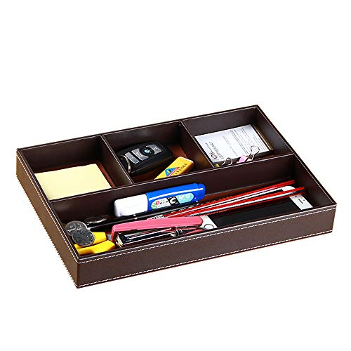 Leather Desktop Stationery Box Storage Box Drawer Storage Box with 4 Compartments Bedside Table Tray Suitable for Office StationeryCardKeyWatchCoinJewelryPhoneRemote Control etc