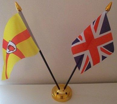 Ulster Irlande du Nord 2 Drapeau Union Jack-Tableau d'affichage de l'amitié avec Base dorée