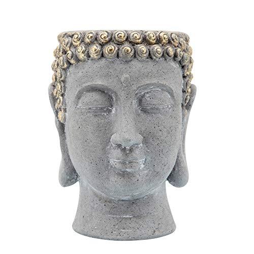 9' Buddha Head Planter, Gray