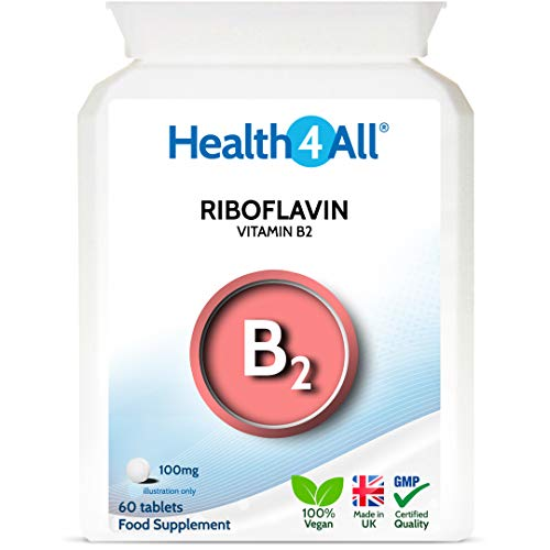 Vitamin B2 Riboflavin 100mg 60 Tablets Migraine Support, Stress and Energy. Vegan. Made by Health4All