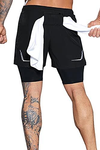 Yidarton Shorts Herren Sport 2 in 1 Kurze Hosen Sommer Schnelltrocknende Laufshorts Gym Trainingsshorts Sporthose (2-Schwarz, S)