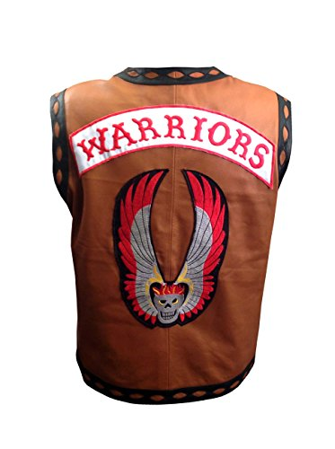 The Warriors Movie - Gilet in pelle con giacca da ciclismo e costume di Halloween Marrone L