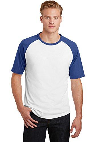 Sport-Tek® Short Sleeve Colorblock Raglan Jersey. T201 White/Royal M
