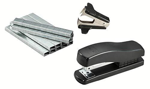 Bostitch Half-Strip Desktop Stapler Kit with Staple Remover and Staples, Black (606-BLK-PP)