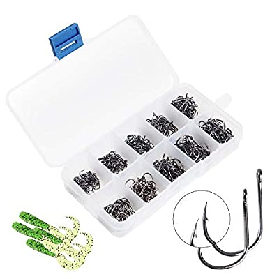 Bswnols Fishing Hooks Set, 500Pcs High Carbon Steel Barbed Fishing Hooks 10 Sizes with Soft Fishing Lures 20Pcs and Plastic Box for Freshwater and Saltwater Fishing