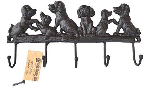 Lulu Decor, Cast Iron 5 Dog Key Hooks, Ideal for Dog Lovers (Antique Black)