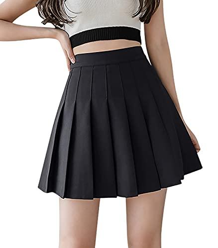AmzBarley feminino saia plissada de cintura alta cor sólida uniforme de skatista linha A minissaia de tênis com shorts tamanho L preto