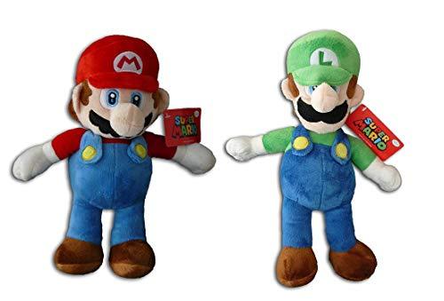 SUPER MARIO Bros - Pack 2 Peluches Mario Bros (33cm) y Luigi (35cm)