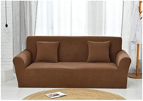 Funda de Sofá Poliéster,Knitted Check Stretch Sofa Cover, Full Cover Non-Slip Cushion Cover, Home Anti-fouling Protective Cover-Deep Shepherd Coffee_190-230cm