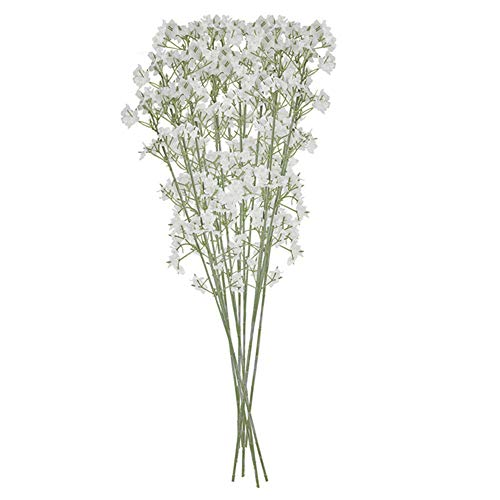 LAANCOO 10 Fake gypsophila bouquet artificial baby breath flower wedding plastic bouquet for DIY Craft Home Vase Garden Party Wedding Valentine's day Decor(white)