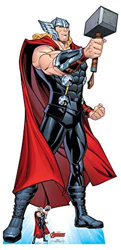 Star Cutouts SC1602 Ltd Thor Mjolnir's Might Lebensgröße Pappaufsteller ideal für Marvel-Fans, Sammler und Veranstaltungen, Höhe 194 cm, Breite 94 cm, Mehrfarbig