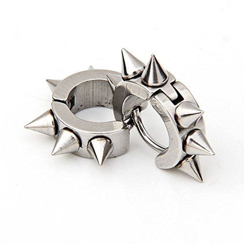 "skyllc® Pair Punk Rock Stainless Steel Earrings Ear Studs 0.63"" CHIC"