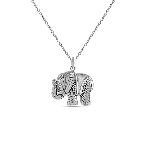 LeCalla Sterling Silver Jewelry Antique Beautifully Carved Elephant Charm Pendant with Chain for Women