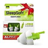 Alpine SleepSoft Tapones para los oídos para dormir - Bloquea los ronquidos y mejora el sueño - Filtros suaves diseñados para dormir - Material hipoalergénico cómodo - Tapones reutilizables
