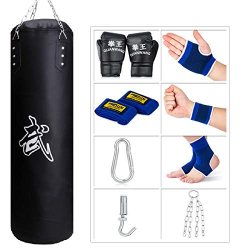 SFEEXUN Punching Bag for Man Women Kids, Indoor/Garden Boxing Bag Unfilled Heavy Bag Set with Punching Gloves, Chain, Ceiling Hook for MMA, Kickboxing, Muay Thai, Karate, Taekwondo